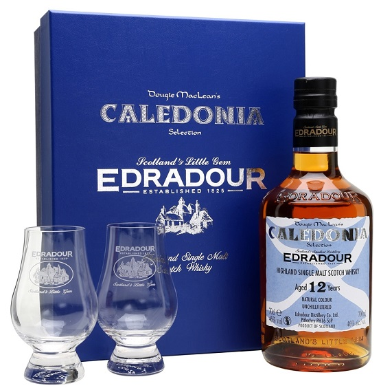 Edradour Caledonia 12 years old gift box with 2 glasses